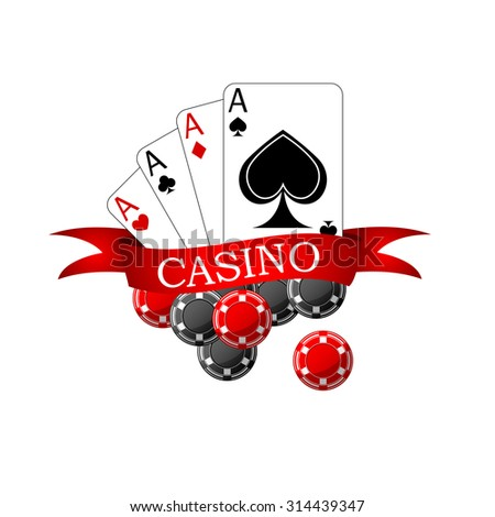 Casino icon with playing cards four aces, black and red gambling chips decorated by ribbon banner with forked edges