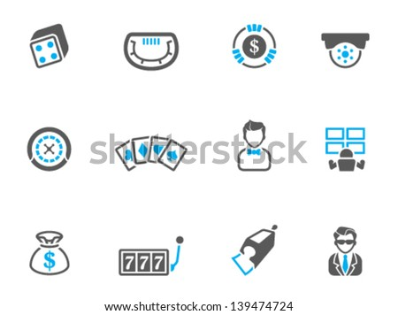Casino icons in duo tone colors - stock vector