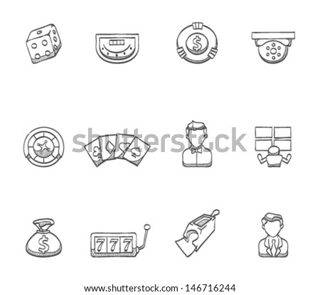 Casino icons  in sketch.  - stock vector
