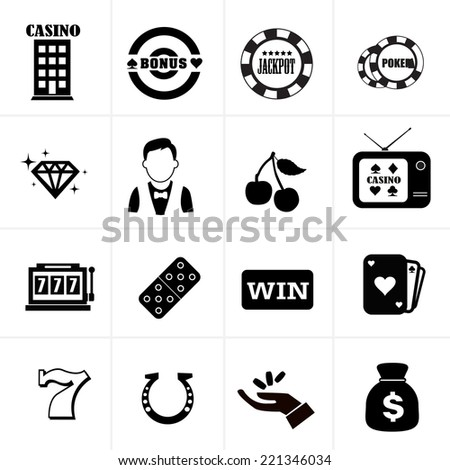 casino icons set - stock vector