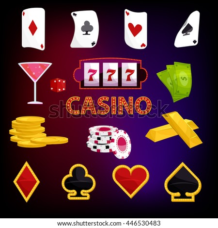 Casino icons set in cartoon style vector illustration