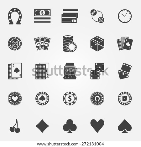 Casino icons set - vector gambling or poker signs or symbols - stock vector