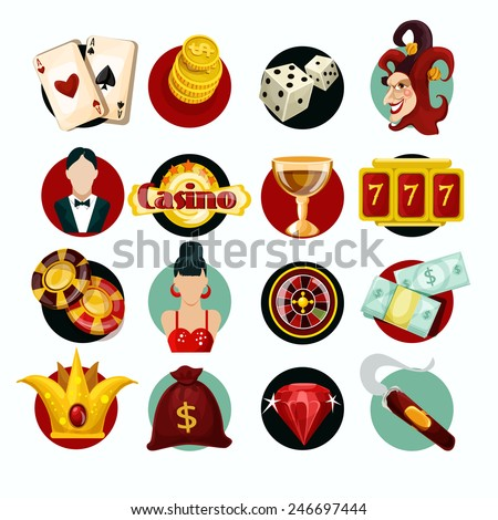 Casino icons set with roulette cigar jocker slot machine isolated vector illustration - stock vector