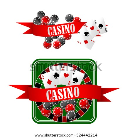 Casino icons with gaming chips, four aces on playing cards, dice and roulette table, decorated by red ribbon banners with text Casino  - stock vector
