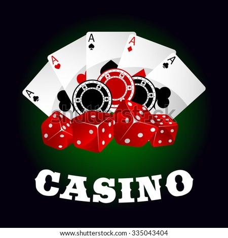 Casino icons with glossy red dices, gambling chips and winning combination of poker aces on the background. For gambling industry theme design - stock vector