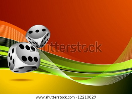 casino illustration with two dice on color background - stock vector