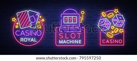 Casino is a set of neon signs. Collection of neon logos slot machine gambling emblem, the bright banner neon casino for your projects. Night light billboard, design element. Vector illustration