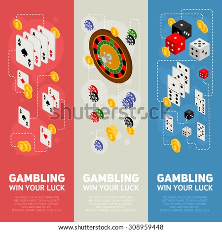 Casino isometric design concept of gambling templates with game items - roulette, poker chips, playing cards, dice, domino, coins - stock vector