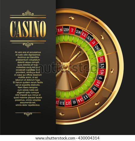 Casino logo poster background or flyer. Casino invitation or banner template with Roulette Wheel. Game design. Playing casino games. Vector illustration. - stock vector