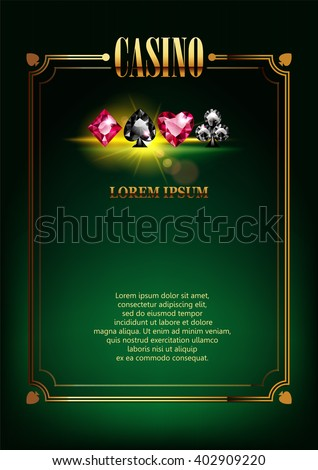 Casino Logo Poster Background or Flyer with Card Suits. Banner with Casino Logo Badges. Game Cards. Playing Casino Games. Casino Banner. Casino Gambling Border or Flyer Template background.  - stock vector