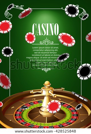 Casino Logo Poster Background or Flyer with Roulette Wheel and Chips. Banner with Casino Logo Badges on Green Canvas. Game Cards. Playing Casino Games. Casino Banner. Casino Games Gambling background. - stock vector