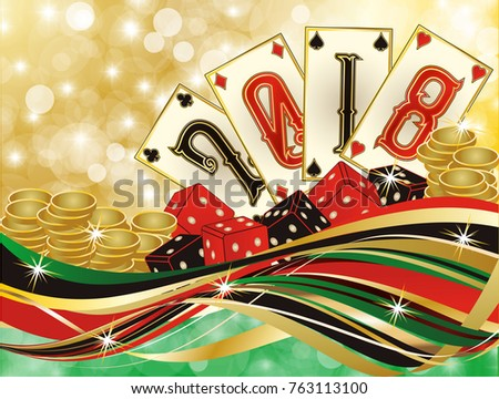 Casino New 2018 year background, vector illustration