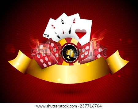 Casino objects set like casino chip, playing cards and glossy dices covered by golden ribbon on red background. - stock vector