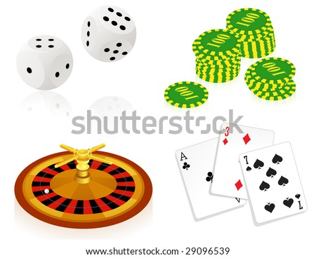 Casino objects, vector illustration, EPS format included - stock vector