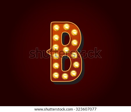 Casino or Broadway Signs style light bulb Alphabet Letter Character in Vector