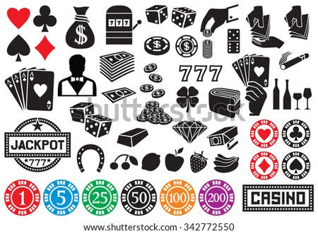 casino or gambling icons  - stock vector