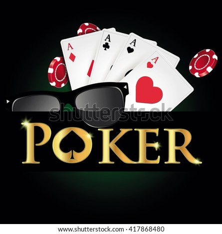 Casino, poker cards and chips. - stock vector