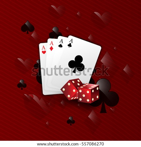Casino poker design template. Colorful cards and playing cards and dice on a red background