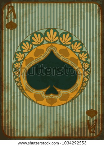 Casino poker spades symbol in art nouveau style, vector illustration