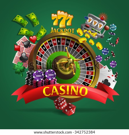 Casino poster with roulette in center and cards dice money  coins chips around it cartoon vector illustration - stock vector