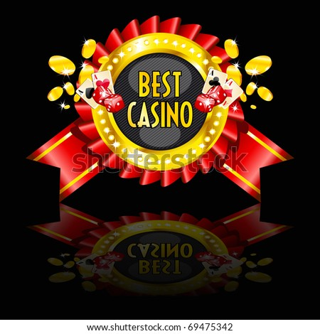 casino reward with golden ring, cards, dice and coins - stock vector