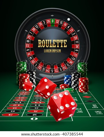 casino roulette, chips, red dice, set,realistic objects,icon, background with place for text