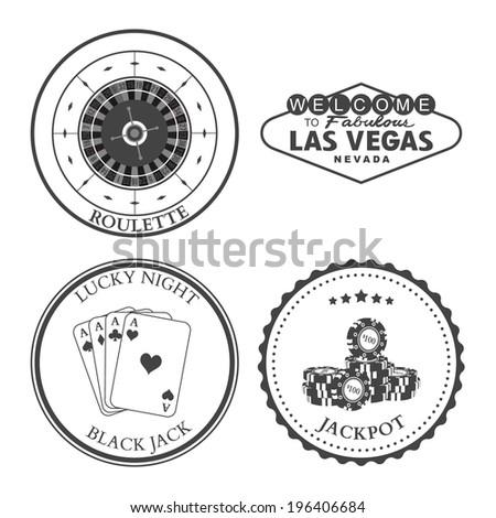 Casino Roulette Las Vegas Black Jack Jackpot design elements and badges set. Vector - stock vector