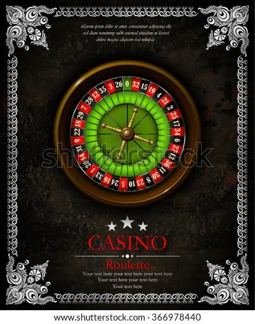 Casino roulette wheel. Vintage background with ornamental frame. Vector illustration. Vip. - stock vector