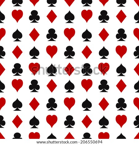 Casino seamless pattern with playing cards suits