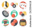 Casino Sport and Leisure Games Icons (Chess, Billiard, Poker, Darts, Bowling, Gambling Chips, Pinball, Dice and Slot Machine). Flat Style. Clean Design. Vector Illustration. - stock photo