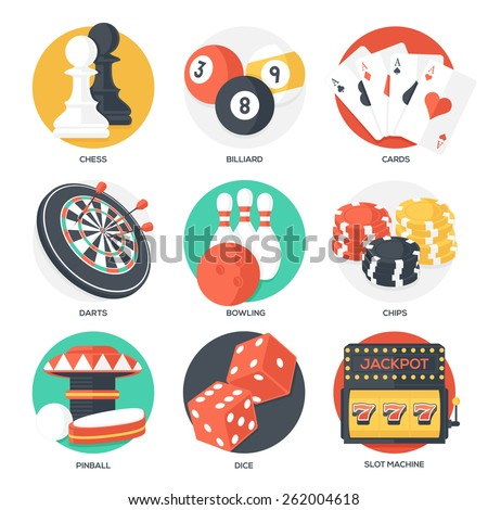 Casino Sport and Leisure Games Icons (Chess, Billiard, Poker, Darts, Bowling, Gambling Chips, Pinball, Dice and Slot Machine). Flat Style. Clean Design. Vector Illustration. - stock vector