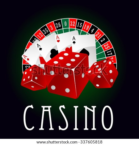 Casino symbol with four aces cards and red dice with roulette wheel sectors on the background, for leisure activity or gaming industry design - stock vector