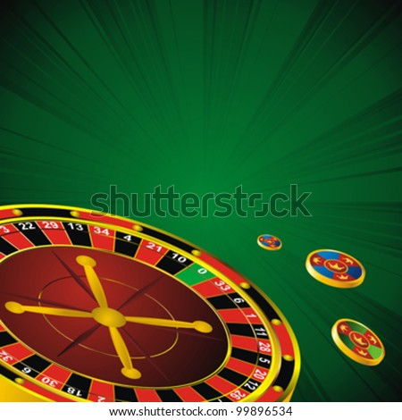 casino symbols roulette wheel and chips on green strip background
