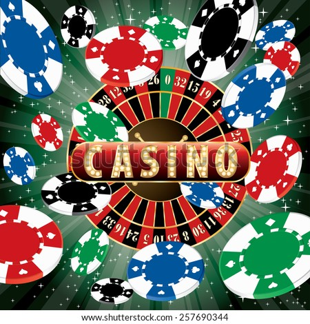 casino vector abstract illustration with roulette and burst of chips - stock vector