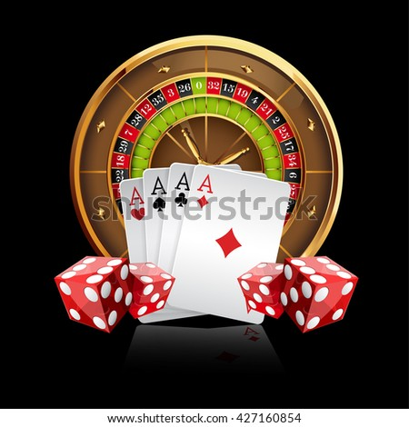 Casino Vector Background with Roulette Wheel, Playing Cards and Dice. Vector Illustration. Gambling Design. - stock vector