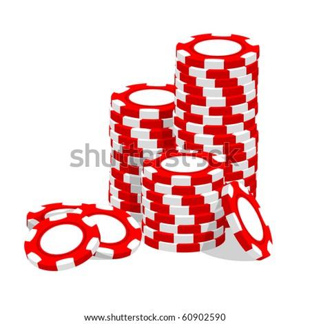 Casino vector illustration red chips on white - stock vector