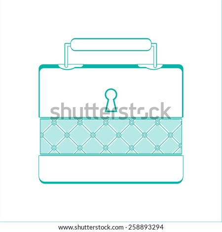 Casket for jewelry, jewelery box a vector object on white background, line design - stock vector