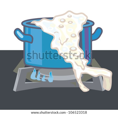 Casserole with singed milk is on the gas stove - stock vector