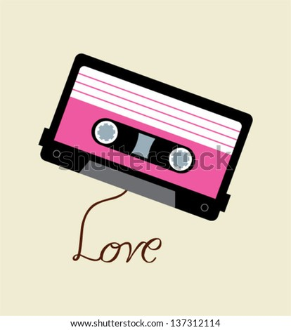 cassette film with love - stock vector