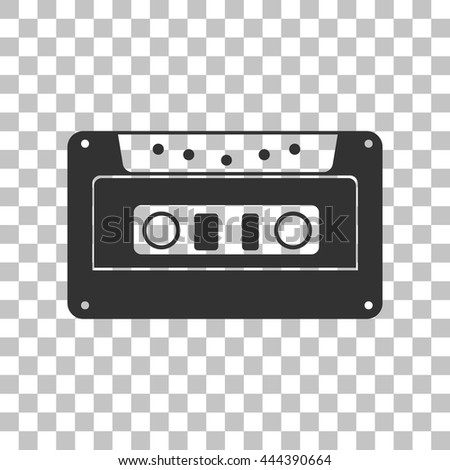 Cassette icon, audio tape sign. Dark gray icon on transparent background. - stock vector