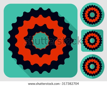 Cassette icon. Bike parts. Flat long shadow design. Bicycle icons series. - stock vector
