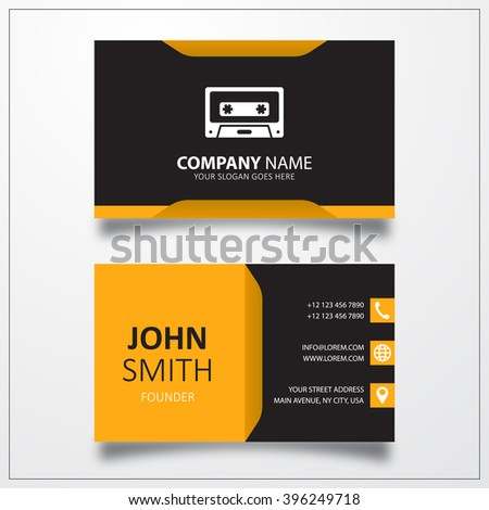 Cassette icon. Business card template - stock vector