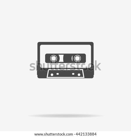 Cassette icon. Vector concept illustration for design. - stock vector