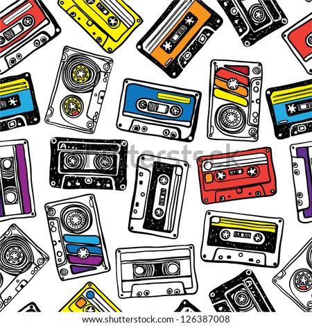 cassette pattern - stock vector