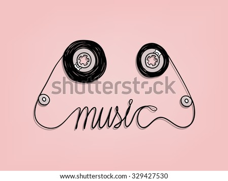 cassette tape music graphic design,music background design concept - stock vector