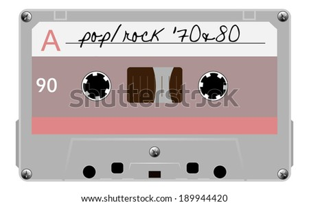 Cassette tape, old musical audio cassette. vector art image illustration, isolated on white background - stock vector