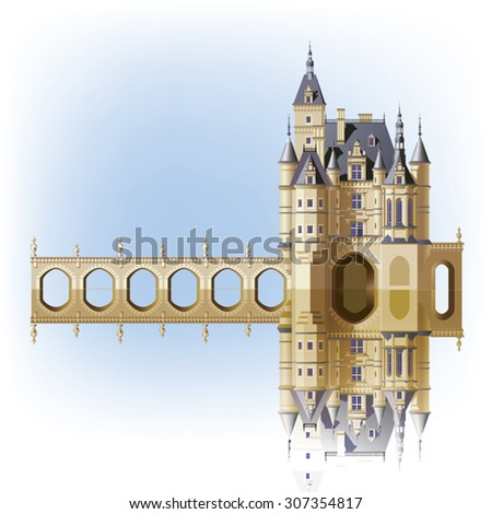 Castle and bridge with reflection in water on a white background
