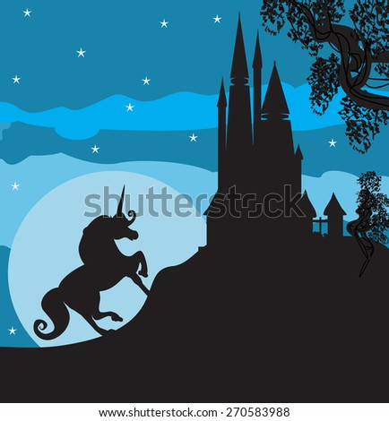 Castle and Unicorn - stock vector