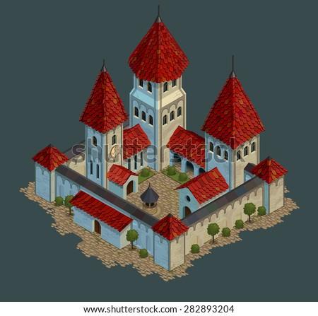 castle cartoon  vector illustration icon - stock vector