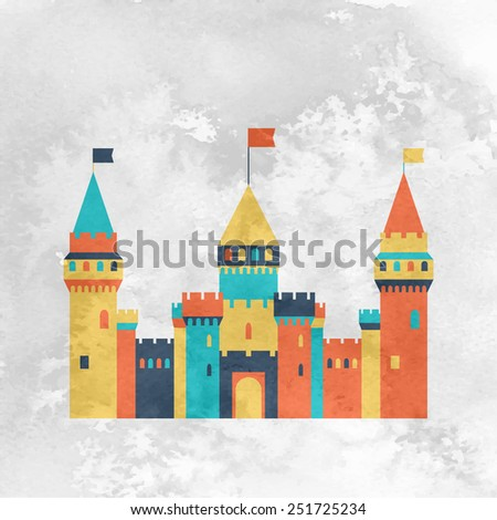 Castle fairy tale icon. Flat vector pattern silhouette isolated. Textured vintage old style card - stock vector